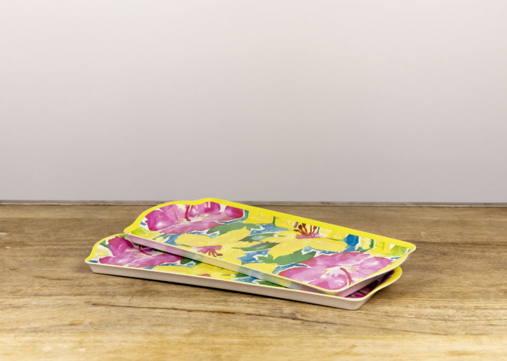 Pair of Floral Melamine Platters (Travel Together_)